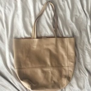 Saks Fifth Avenue genuine leather basic beige tote